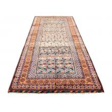 128 X 314 Bold & Beautiful Orange, Brown All Over Diamond Designed Persian Rug