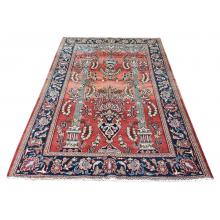 128 X 210 Beautifully Crafted Two Pillars Designed Handmade Wool Rug