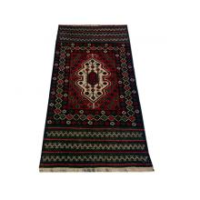 86 x 157 Bold and Dark Oriental Afghan All Wool Rug