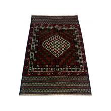 91 x 137 Bold and Dark Oriental Afghan Wool Rug