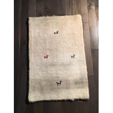 Simple Gabbeh Cream floor Rug