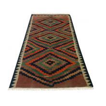 127 x 260 Elegant Diamond Kilim Persian Handmade Wool Rug