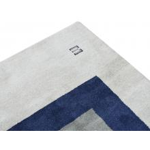 122 X 183 Modern,Oriental Triple Square Grey Blue Wool Rug
