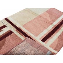 122 X 183 Geometric Design Oriental Modern Pink Cream Brown Wool Rug