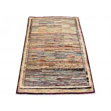 101 X 155 Multi Color Afghan Chobi Vegetable Dye Stripe Patterned Rug