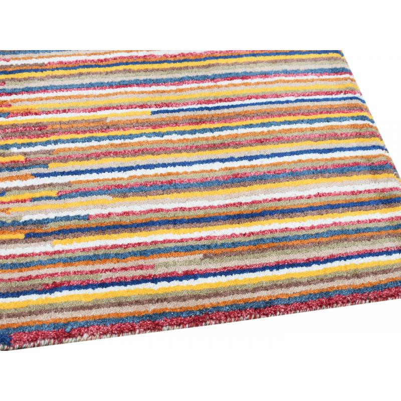 Modern Multi Color Stripes Design Wool Rug