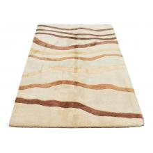152 X 213 Modern Waves Design Cream and Brown Wool Rug