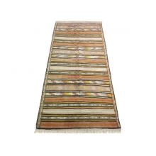 142 x 318 Reversible Kilim Antique Tribal Wool Silk Rug