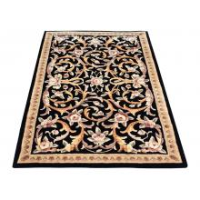 109 x 171 Luxurious Black Gold All Over Flower Vine Design Wool Rug