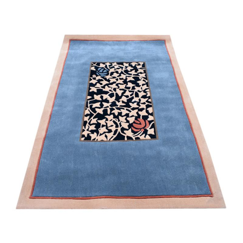 152 x 244 bold and beautiful oriental modern leaves design blue cream rug