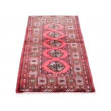 98 X 146 Graceful Turkman Elephant's Feet Design Handmade Red Rug