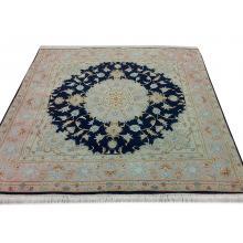 201 x 201 Dark Blue Square Shaped Tabriz Handmade Rug