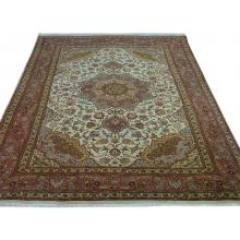 193 x 300 Fine Persian Tabriz Handmade Wool & Silk Rug