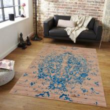 152 X 244 Oriental Handmade Hand Knotted THE LEAF BLUE Rug